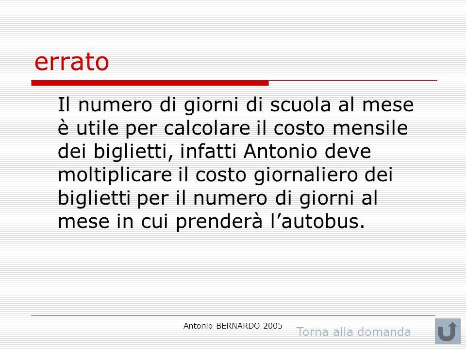 Antonio BERNARDO 2005 errato Il numero di giorni di scuola al mese è utile per calcolare il costo mensile dei biglietti, infatti Antonio deve moltiplicare il costo giornaliero dei biglietti per il numero di giorni al mese in cui prenderà lautobus.