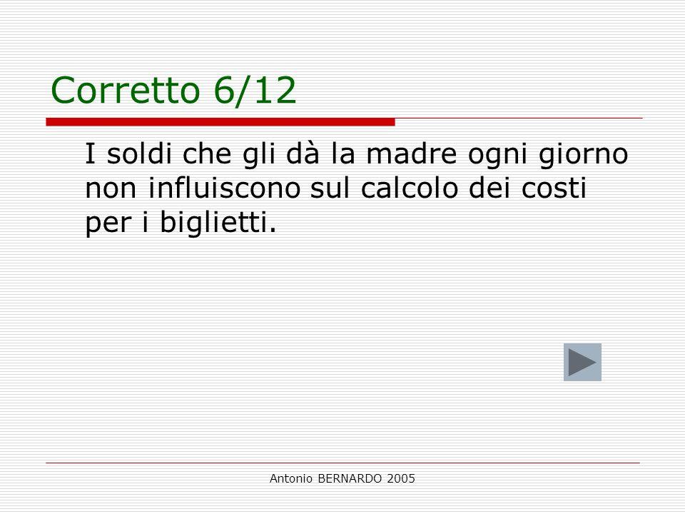 Antonio BERNARDO 2005 Corretto 6/12 I soldi che gli dà la madre ogni giorno non influiscono sul calcolo dei costi per i biglietti.