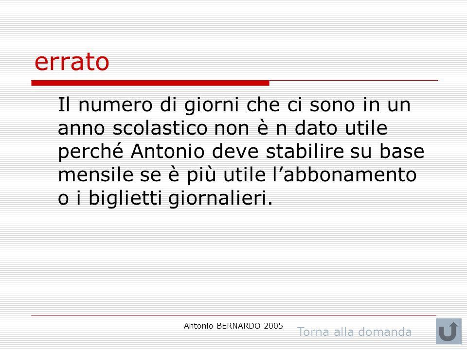 Antonio BERNARDO 2005 errato Il numero di giorni che ci sono in un anno scolastico non è n dato utile perché Antonio deve stabilire su base mensile se è più utile labbonamento o i biglietti giornalieri.