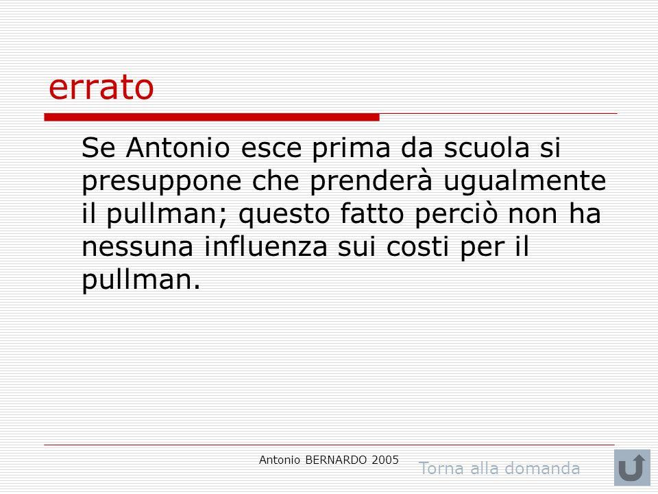 Antonio BERNARDO 2005 errato Se Antonio esce prima da scuola si presuppone che prenderà ugualmente il pullman; questo fatto perciò non ha nessuna influenza sui costi per il pullman.