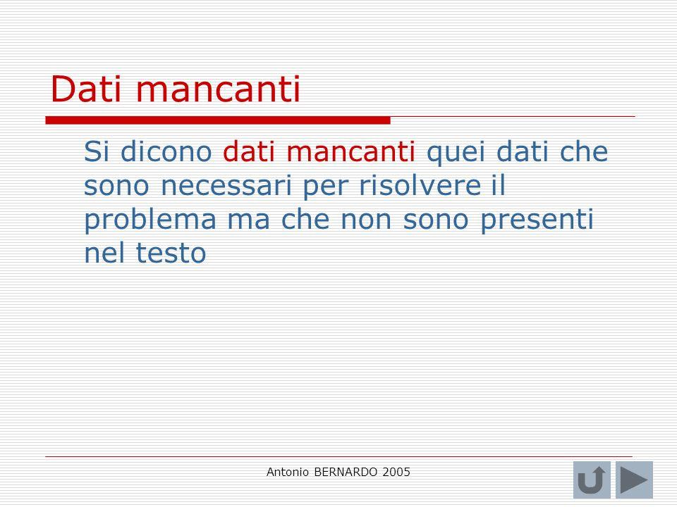 Antonio BERNARDO 2005 Dati mancanti Si dicono dati mancanti quei dati che sono necessari per risolvere il problema ma che non sono presenti nel testo
