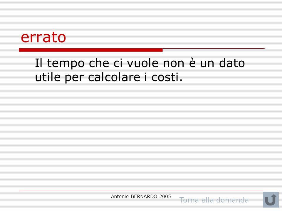 Antonio BERNARDO 2005 errato Il tempo che ci vuole non è un dato utile per calcolare i costi. Torna alla domanda