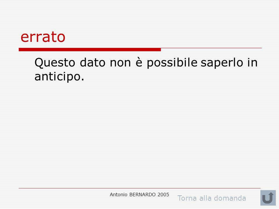 Antonio BERNARDO 2005 errato Questo dato non è possibile saperlo in anticipo. Torna alla domanda