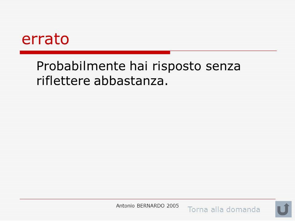 Antonio BERNARDO 2005 errato Probabilmente hai risposto senza riflettere abbastanza. Torna alla domanda