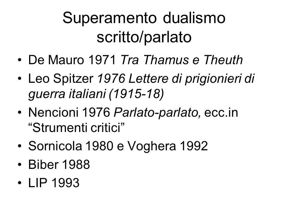 Superamento dualismo scritto/parlato De Mauro 1971 Tra Thamus e Theuth Leo Spitzer 1976 Lettere di prigionieri di guerra italiani (1915-18) Nencioni 1