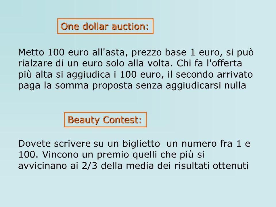 Metto 100 euro all'asta, prezzo base 1 euro, si può rialzare di un euro solo alla volta. Chi fa l'offerta più alta si aggiudica i 100 euro, il secondo