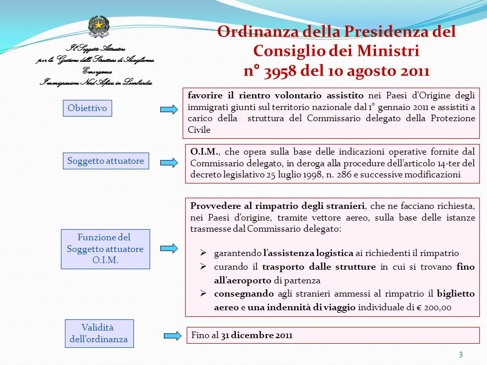 Il Soggetto Attuatore per la Gestione delle Strutture di Accoglienza Emergenza Immigrazione Nord Africa in Lombardia 3 Ordinanza della Presidenza del