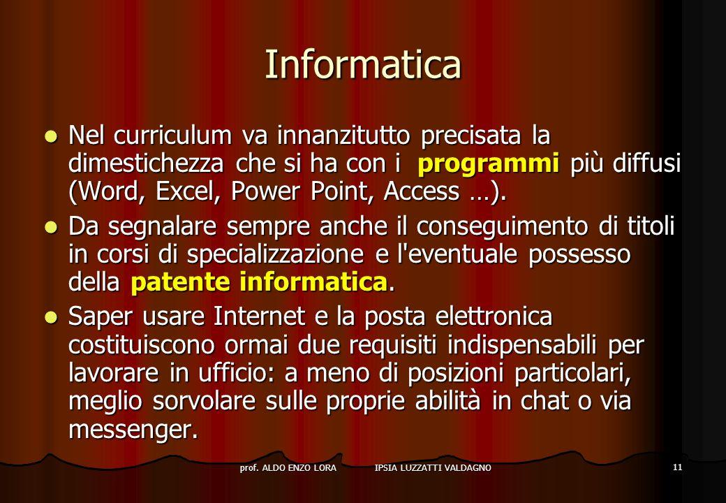 prof. ALDO ENZO LORA IPSIA LUZZATTI VALDAGNO 11 Informatica Nel curriculum va innanzitutto precisata la dimestichezza che si ha con i programmi più di