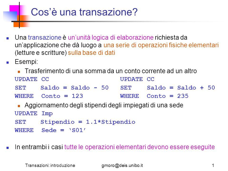 Transazioni: introduzione22 Esempio di Log Il Log contiene anche record che specificano linizio (BEGIN) di una transazione e la sua terminazione (COMMIT o ABORT) LSNTPIDbefore(P)after(P)prevLSN … 235T1BEGIN- 236T2BEGIN- 237T1P15(abc, 10)(abc, 20)235 238T2P18(def, 13)(ghf, 13)236 239T1COMMIT237 240T2P19(def, 15)(ghf, 15)238 241T3BEGIN- 242T2P19(ghf, 15)(ghf, 17)240 243T3P15(abc, 20)(abc, 30)241 244T2ABORT242 245T3COMMIT243 …