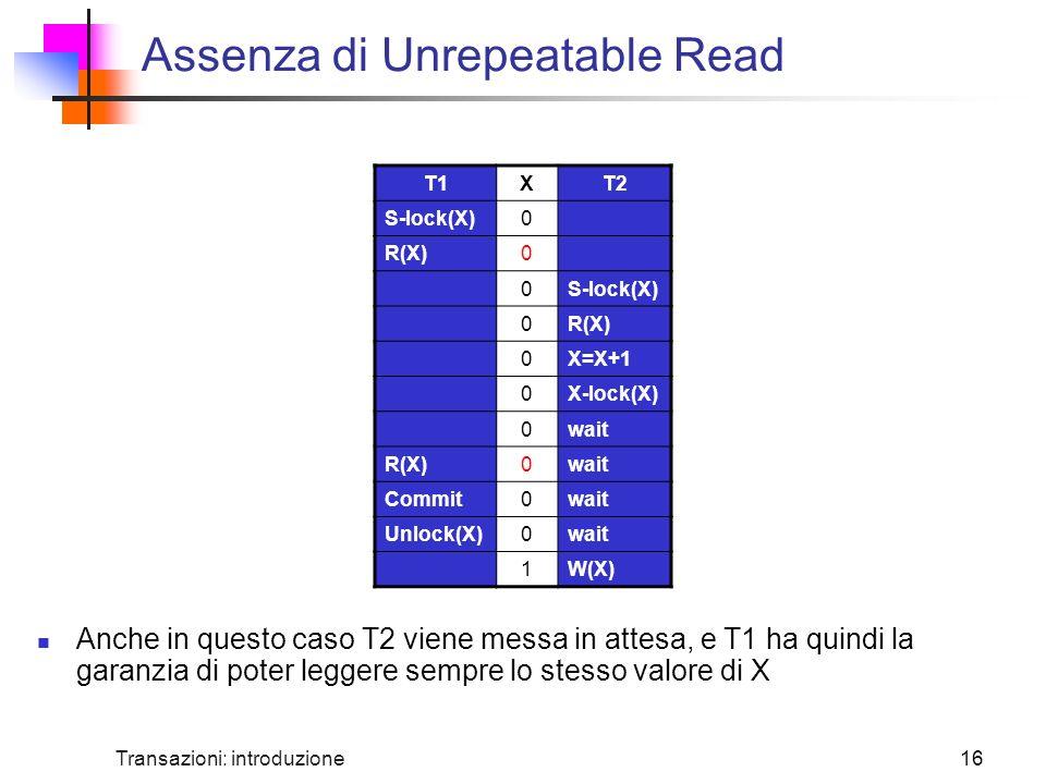 Transazioni: introduzione16 Assenza di Unrepeatable Read Anche in questo caso T2 viene messa in attesa, e T1 ha quindi la garanzia di poter leggere sempre lo stesso valore di X T1XT2 S-lock(X)0 R(X)0 0S-lock(X) 0R(X) 0X=X+1 0X-lock(X) 0wait R(X)0wait Commit0wait Unlock(X)0wait 1W(X)