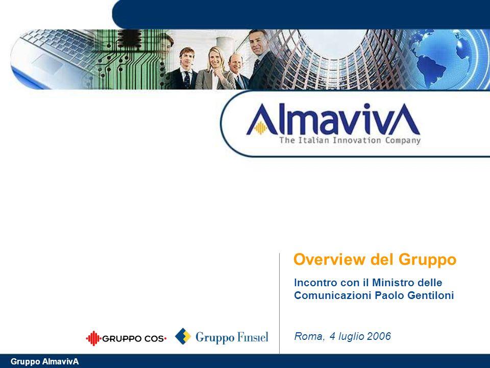 Gruppo AlmavivA Overview del Gruppo Roma, 4 luglio 2006 Incontro con il Ministro delle Comunicazioni Paolo Gentiloni
