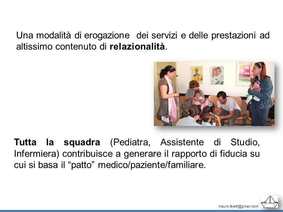 mauro.feletti@gmail.com Una modalità di erogazione dei servizi e delle prestazioni ad altissimo contenuto di relazionalità. Tutta la squadra (Pediatra