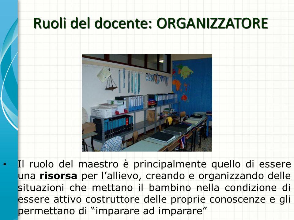 Ruoli del docente: ORGANIZZATORE Il ruolo del maestro è principalmente quello di essere una risorsa per lallievo, creando e organizzando delle situazi