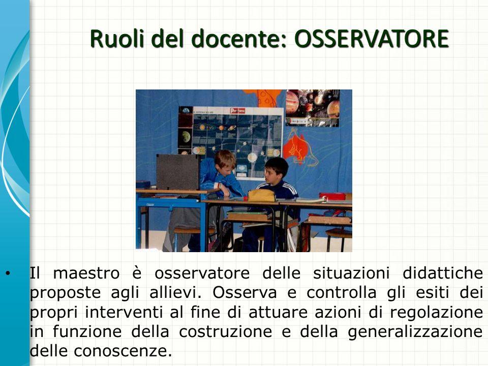 Ruoli del docente: OSSERVATORE Il maestro è osservatore delle situazioni didattiche proposte agli allievi. Osserva e controlla gli esiti dei propri in