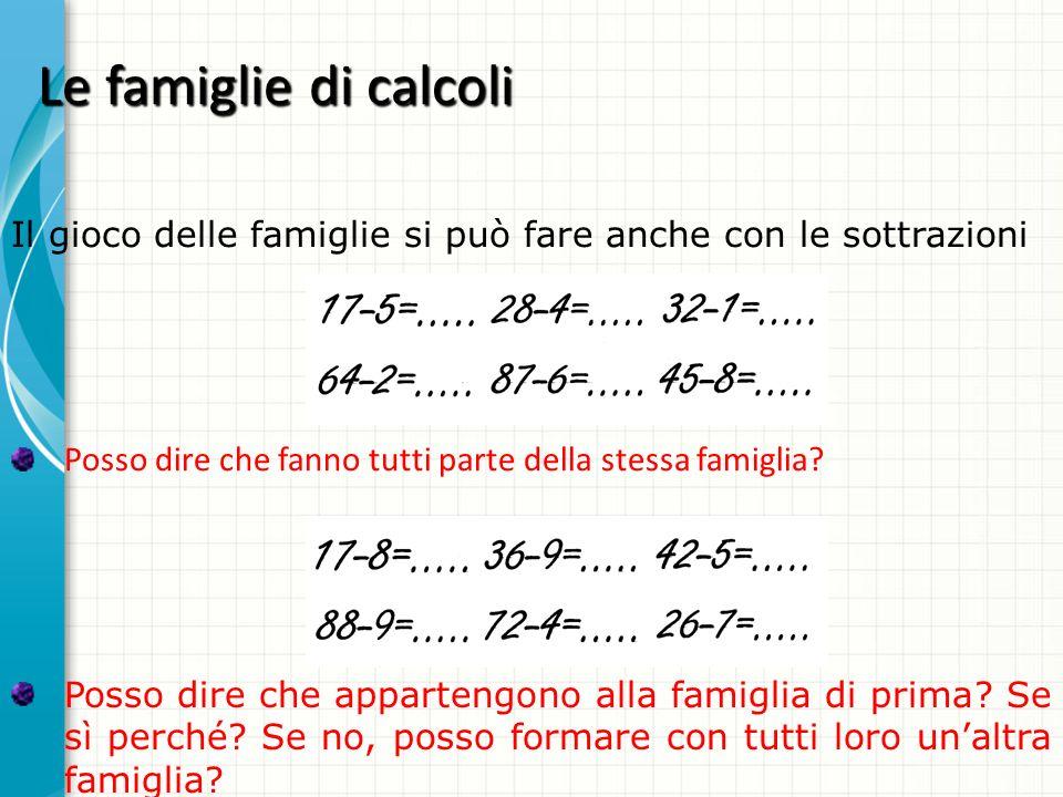 Le famiglie di calcoli Posso dire che fanno tutti parte della stessa famiglia? Il gioco delle famiglie si può fare anche con le sottrazioni Posso dire