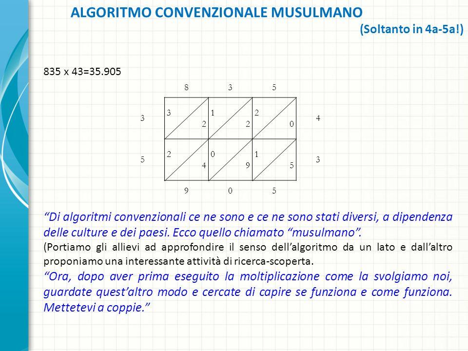 835 x 43=35.905 Di algoritmi convenzionali ce ne sono e ce ne sono stati diversi, a dipendenza delle culture e dei paesi. Ecco quello chiamato musulma