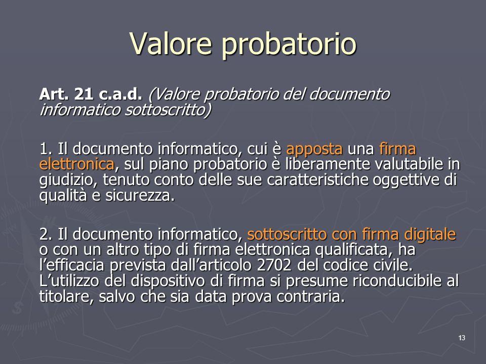 13 Valore probatorio Art. 21 c.a.d. (Valore probatorio del documento informatico sottoscritto) 1. Il documento informatico, cui è apposta una firma el