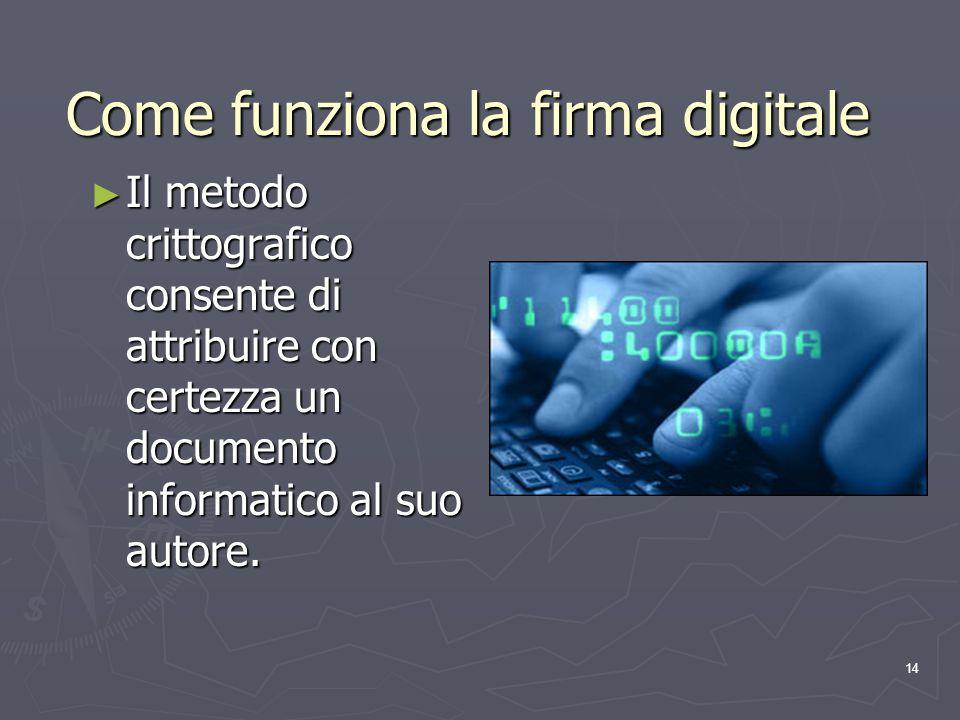 14 Come funziona la firma digitale Il metodo crittografico consente di attribuire con certezza un documento informatico al suo autore. Il metodo critt