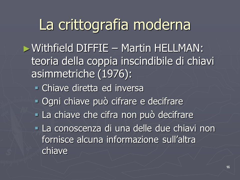 16 La crittografia moderna Withfield DIFFIE – Martin HELLMAN: teoria della coppia inscindibile di chiavi asimmetriche (1976): Withfield DIFFIE – Marti