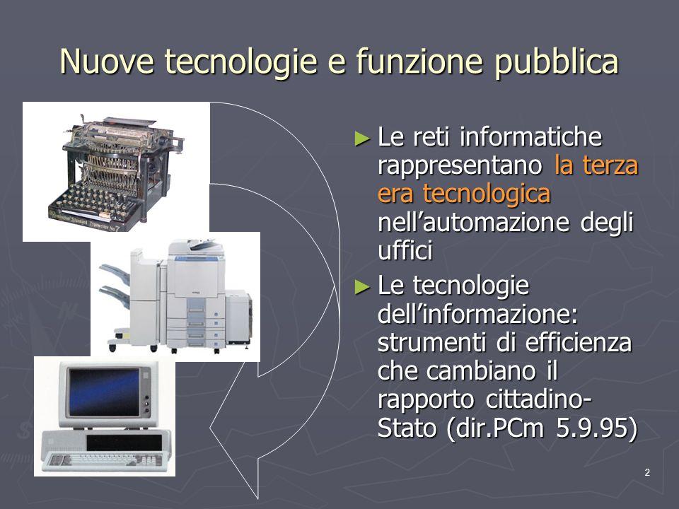 2 Nuove tecnologie e funzione pubblica Le reti informatiche rappresentano la terza era tecnologica nellautomazione degli uffici Le tecnologie dellinfo