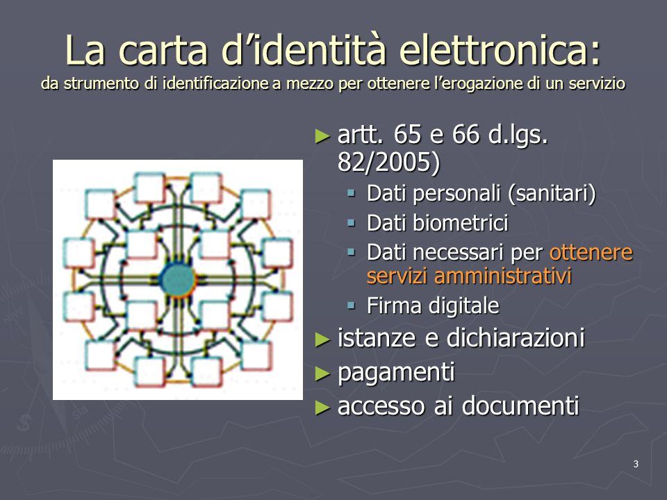 3 La carta didentità elettronica: da strumento di identificazione a mezzo per ottenere lerogazione di un servizio artt. 65 e 66 d.lgs. 82/2005) Dati p