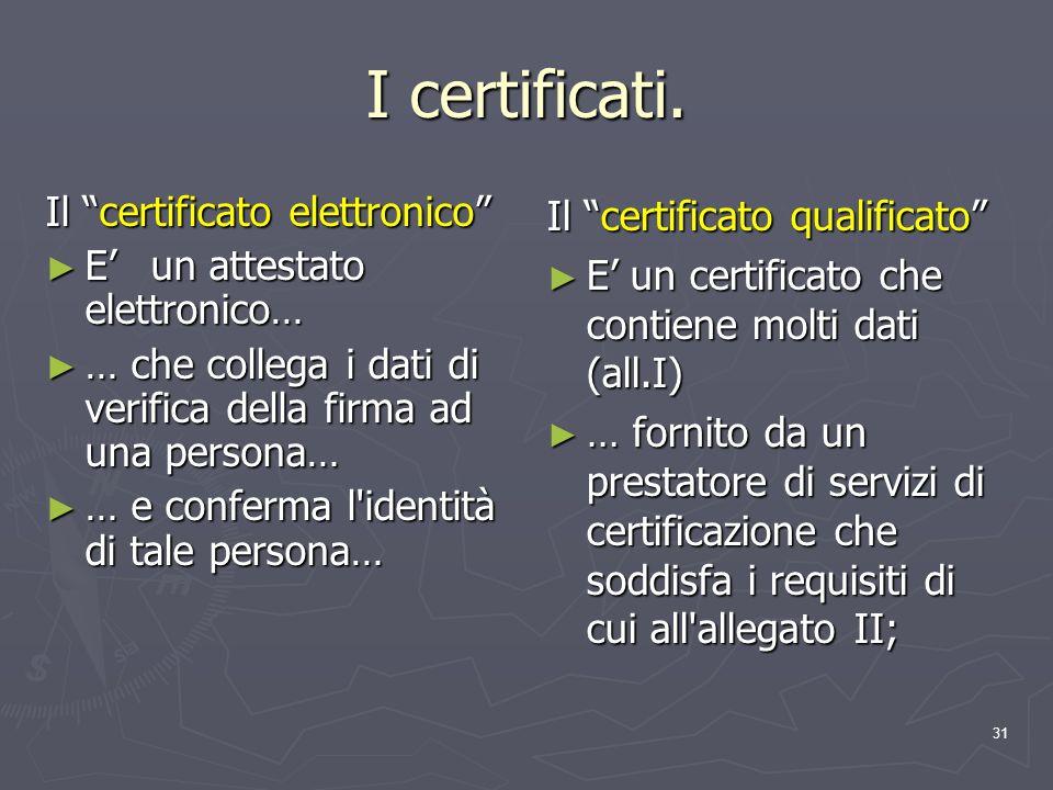 31 I certificati. Il certificato elettronico E un attestato elettronico… E un attestato elettronico… … che collega i dati di verifica della firma ad u