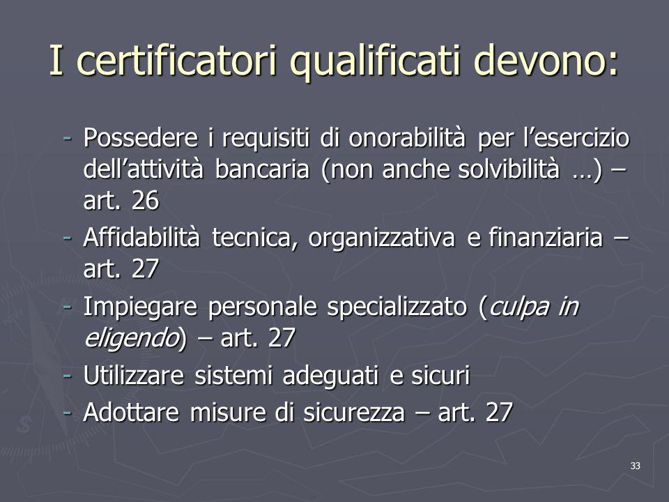 33 I certificatori qualificati devono: -Possedere i requisiti di onorabilità per lesercizio dellattività bancaria (non anche solvibilità …) – art. 26