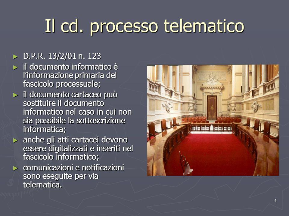 4 Il cd. processo telematico D.P.R. 13/2/01 n. 123 D.P.R. 13/2/01 n. 123 il documento informatico è linformazione primaria del fascicolo processuale;