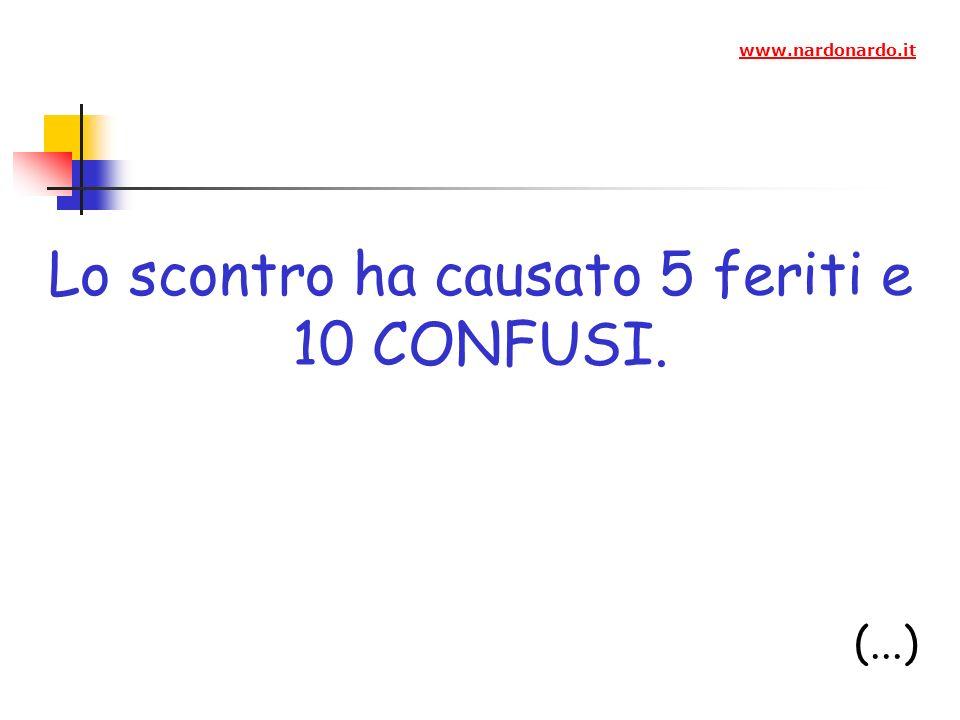 Lo scontro ha causato 5 feriti e 10 CONFUSI. (...) www.nardonardo.it