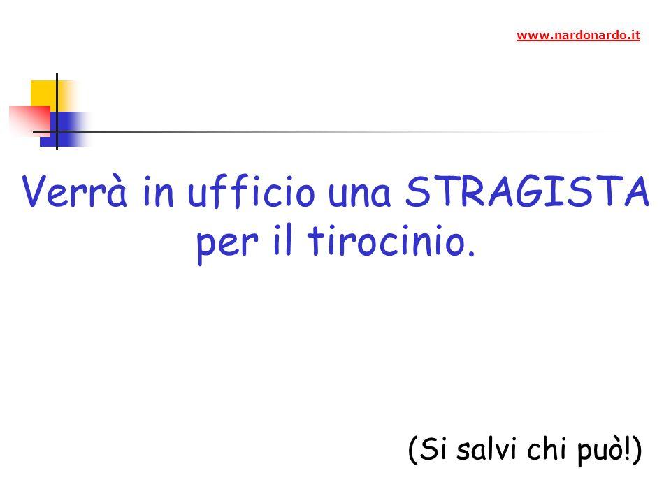 Verrà in ufficio una STRAGISTA per il tirocinio. (Si salvi chi può!) www.nardonardo.it
