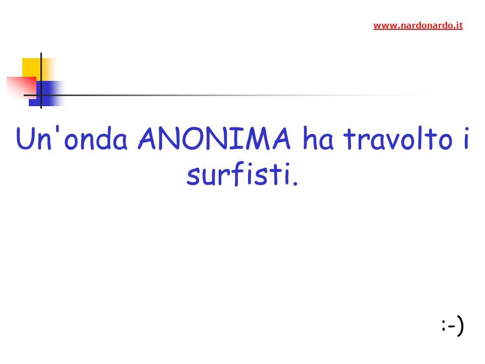 Un onda ANONIMA ha travolto i surfisti. :-) www.nardonardo.it