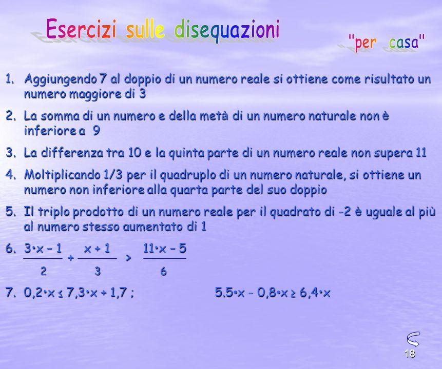 18 1.Aggiungendo 7 al doppio di un numero reale si ottiene come risultato un numero maggiore di 3 2.La somma di un numero e della met à di un numero naturale non è inferiore a 9 3.La differenza tra 10 e la quinta parte di un numero reale non supera 11 4.Moltiplicando 1/3 per il quadruplo di un numero naturale, si ottiene un numero non inferiore alla quarta parte del suo doppio 5.Il triplo prodotto di un numero reale per il quadrato di -2 è uguale al pi ù al numero stesso aumentato di 1 6.3x – 1 x + 1 11x – 5 7.0,2x 7,3x + 1,7 ; 5.5 x - 0,8 x 6,4x 236 +>