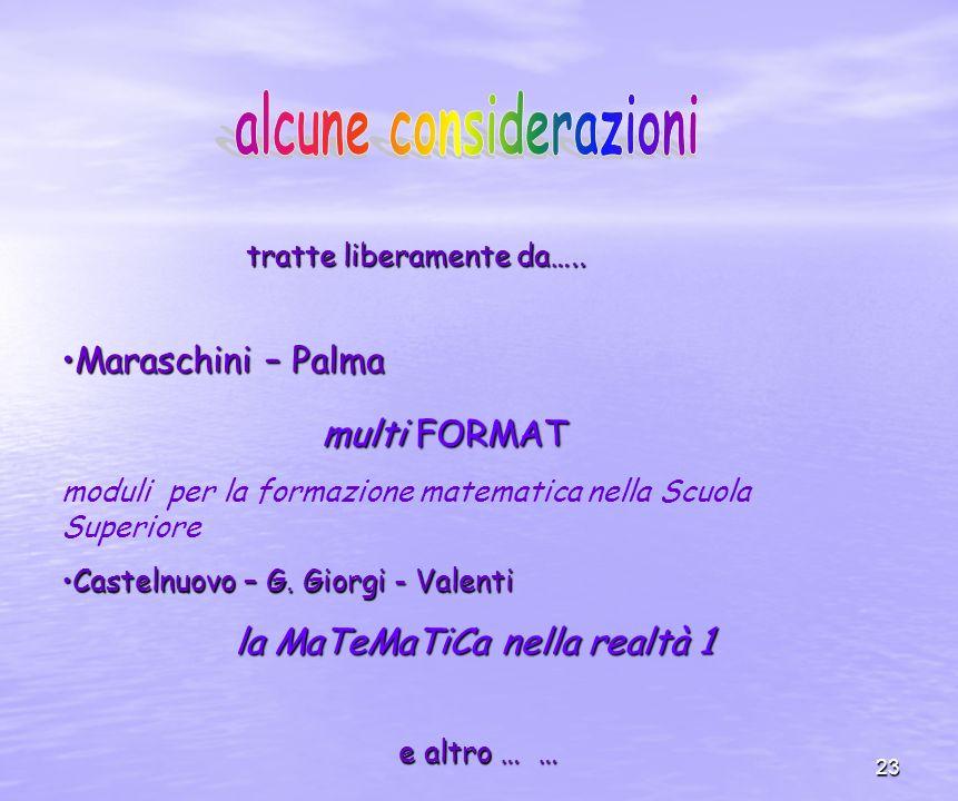 23 Maraschini – PalmaMaraschini – Palma multi FORMAT multi FORMAT moduli per la formazione matematica nella Scuola Superiore Castelnuovo – G.
