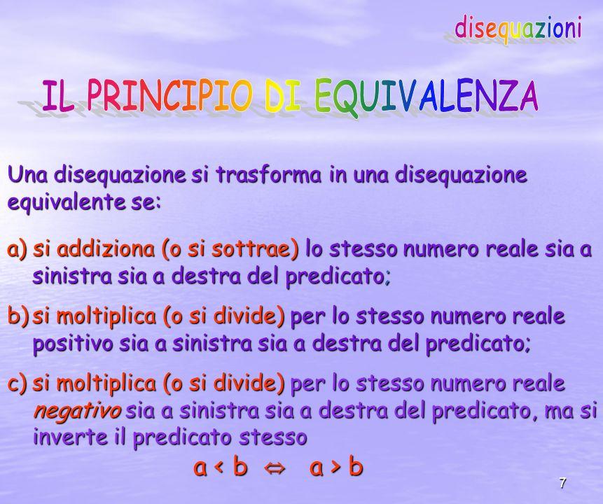 7 a) si addiziona (o si sottrae) lo stesso numero reale sia a sinistra sia a destra del predicato; b)si moltiplica (o si divide) per lo stesso numero reale positivo sia a sinistra sia a destra del predicato; c)si moltiplica (o si divide) per lo stesso numero reale negativo sia a sinistra sia a destra del predicato, ma si inverte il predicato stesso a b a b Una disequazione si trasforma in una disequazione equivalente se: