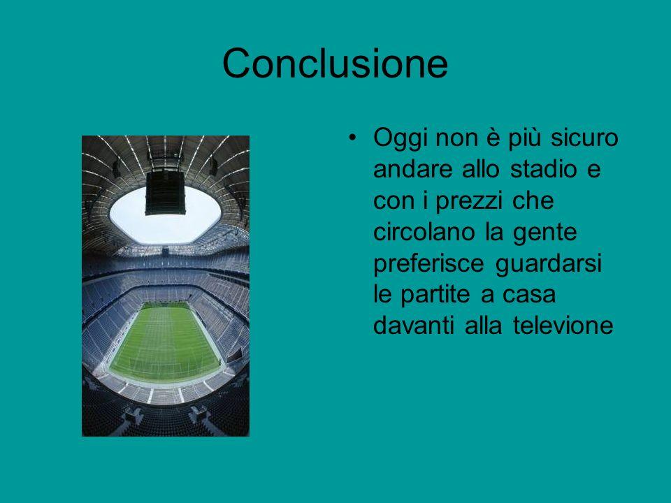 Conclusione Oggi non è più sicuro andare allo stadio e con i prezzi che circolano la gente preferisce guardarsi le partite a casa davanti alla televione