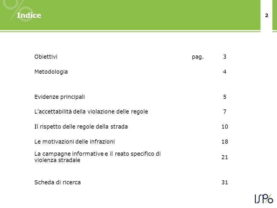 3 Obiettivi In occasione del convegno del 7 aprile 2011, Fondazione ANIA ha chiesto ad ISPO di realizzare uno studio con lo scopo di comprendere latteggiamento degli italiani di fronte al dovere civico del rispetto delle regole, siano esse quelle della convivenza civile in generale che quelle della circolazione stradale in particolare.