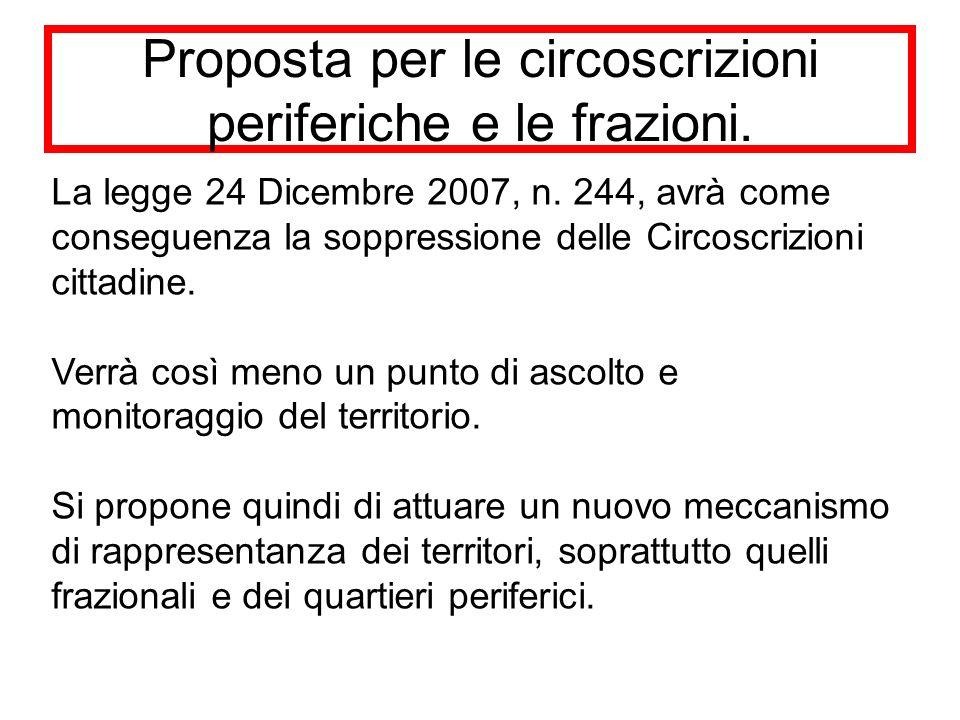 Proposta per le circoscrizioni periferiche e le frazioni.