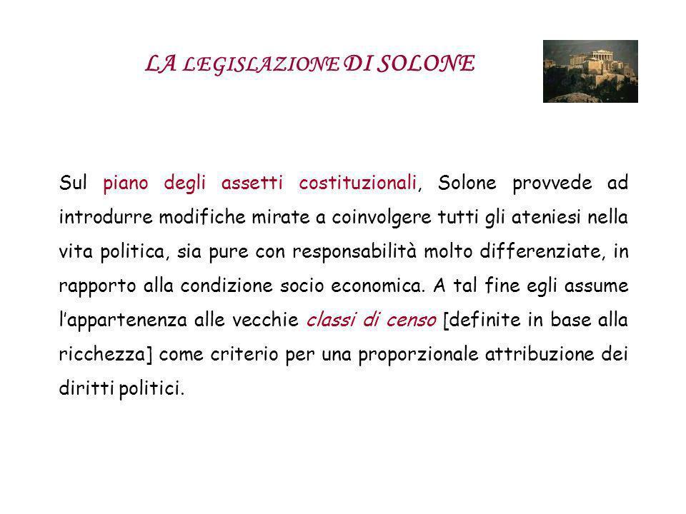 LA LEGISLAZIONE DI SOLONE Sul piano degli assetti costituzionali, Solone provvede ad introdurre modifiche mirate a coinvolgere tutti gli ateniesi nell