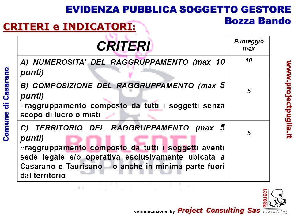 Project Consulting Sas comunicazione by Project Consulting Sas www.projectpuglia.it Comune di Casarano EVIDENZA PUBBLICA SOGGETTO GESTORE Bozza Bando CRITERI e INDICATORI : CRITERI Punteggio max A) NUMEROSITA DEL RAGGRUPPAMENTO (max 10 punti ) 10 B) COMPOSIZIONE DEL RAGGRUPPAMENTO (max 5 punti ) o raggruppamento composto da tutti i soggetti senza scopo di lucro o misti 5 C) TERRITORIO DEL RAGGRUPPAMENTO (max 5 punti ) o raggruppamento composto da tutti i soggetti aventi sede legale e/o operativa esclusivamente ubicata a Casarano e Taurisano – o anche in minima parte fuori dal territorio 5