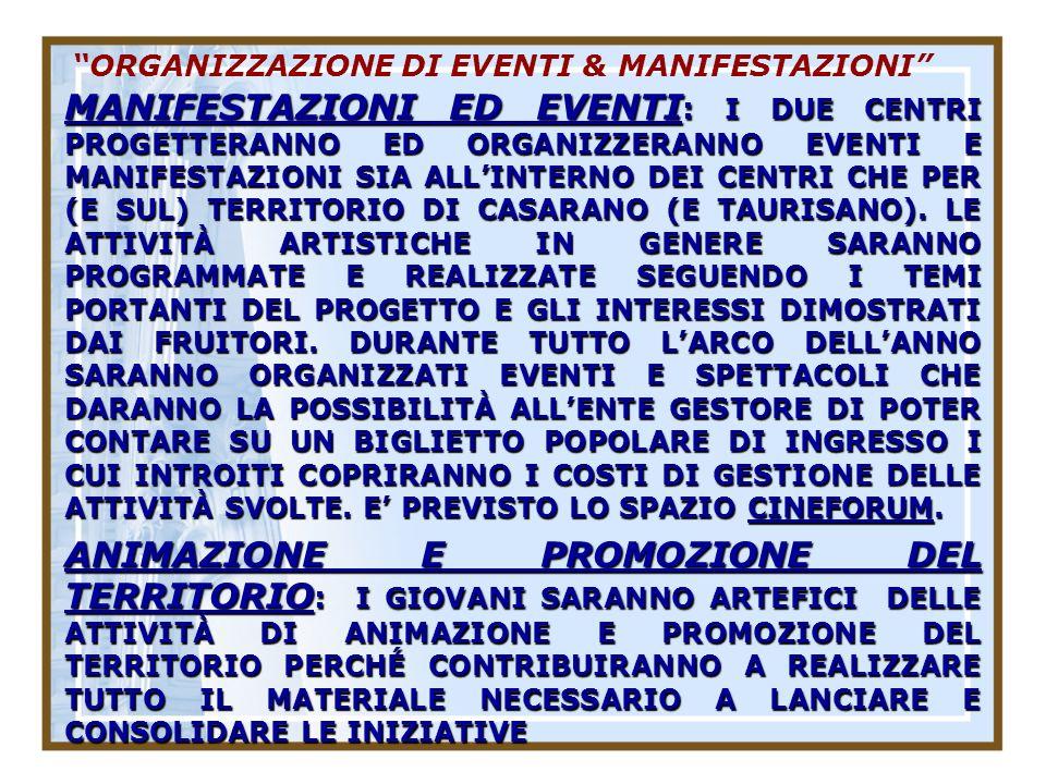 ORGANIZZAZIONE DI EVENTI & MANIFESTAZIONI MANIFESTAZIONI ED EVENTI : I DUE CENTRI PROGETTERANNO ED ORGANIZZERANNO EVENTI E MANIFESTAZIONI SIA ALLINTERNO DEI CENTRI CHE PER (E SUL) TERRITORIO DI CASARANO (E TAURISANO).