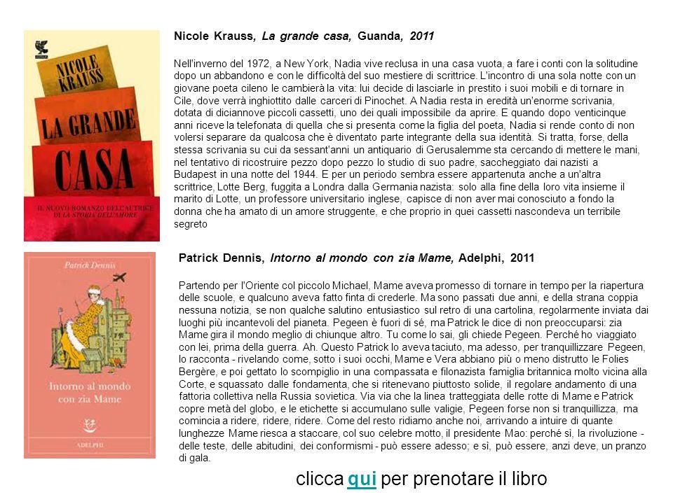 Nicole Krauss, La grande casa, Guanda, 2011 Nell'inverno del 1972, a New York, Nadia vive reclusa in una casa vuota, a fare i conti con la solitudine