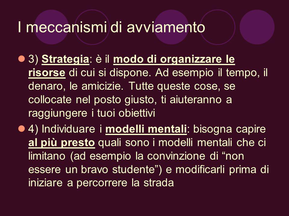I meccanismi di avviamento 3) Strategia: è il modo di organizzare le risorse di cui si dispone. Ad esempio il tempo, il denaro, le amicizie. Tutte que