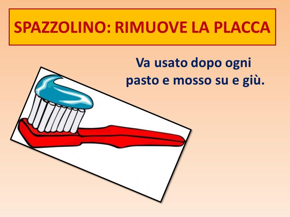 SPAZZOLINO: RIMUOVE LA PLACCA Va usato dopo ogni pasto e mosso su e giù.