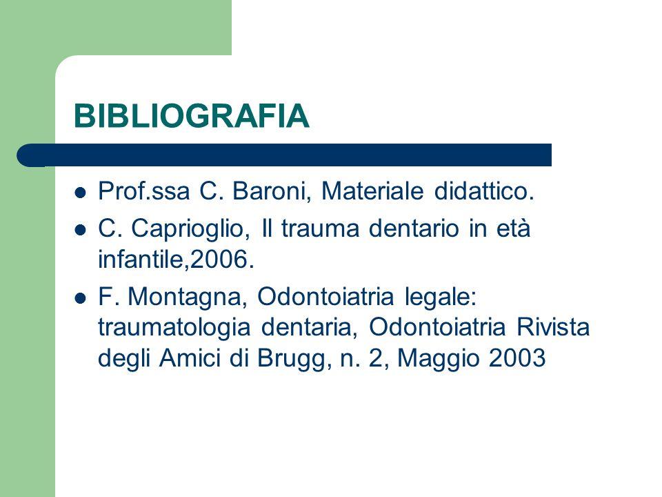 BIBLIOGRAFIA Prof.ssa C. Baroni, Materiale didattico. C. Caprioglio, Il trauma dentario in età infantile,2006. F. Montagna, Odontoiatria legale: traum