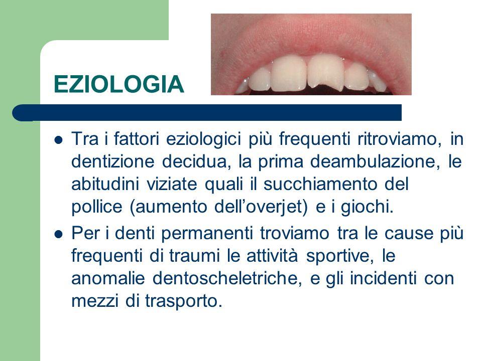 EZIOLOGIA Tra i fattori eziologici più frequenti ritroviamo, in dentizione decidua, la prima deambulazione, le abitudini viziate quali il succhiamento