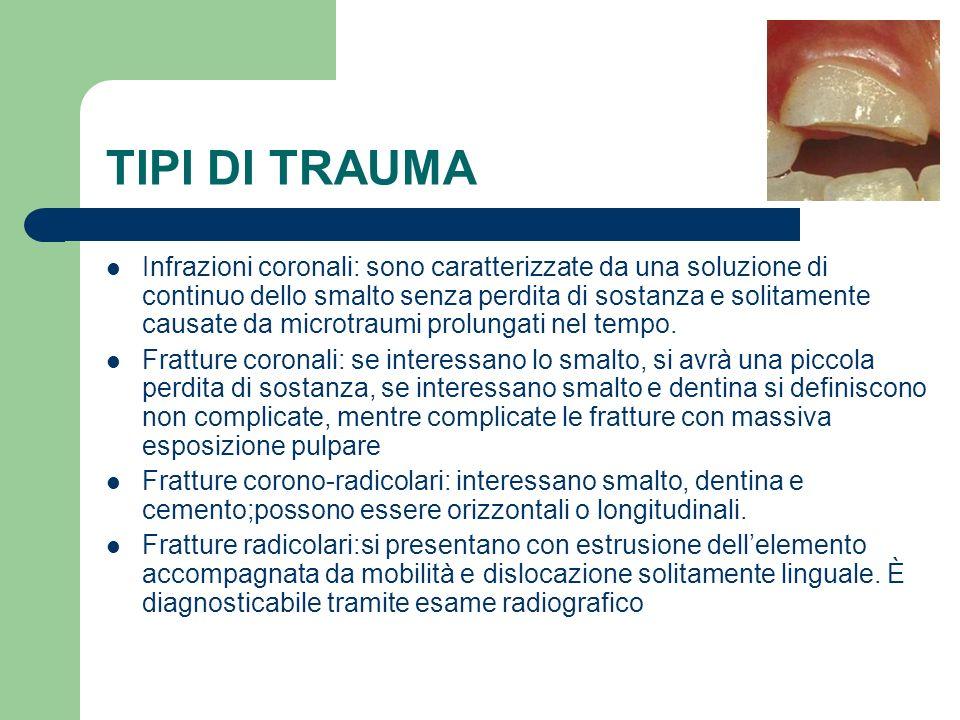TIPI DI TRAUMA Infrazioni coronali: sono caratterizzate da una soluzione di continuo dello smalto senza perdita di sostanza e solitamente causate da m