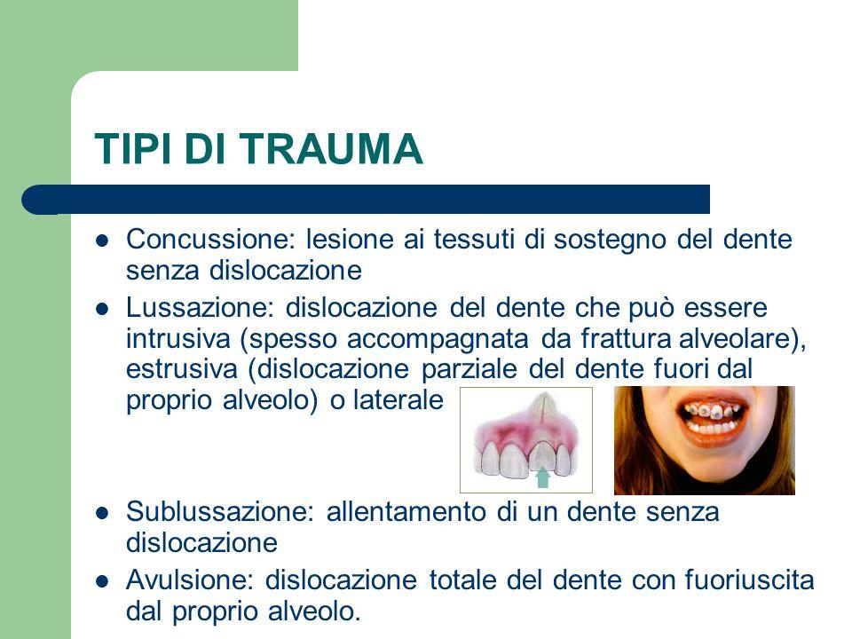 TIPI DI TRAUMA Concussione: lesione ai tessuti di sostegno del dente senza dislocazione Lussazione: dislocazione del dente che può essere intrusiva (s