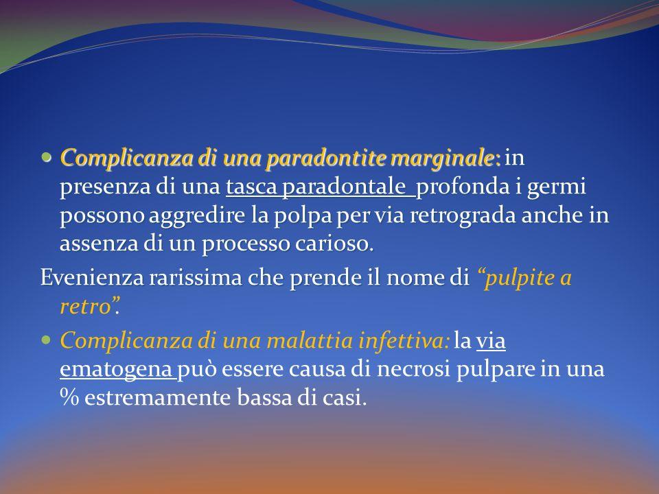 Complicanza di una paradontite marginale: in presenza di una tasca paradontale profonda i germi possono aggredire la polpa per via retrograda anche in assenza di un processo carioso.