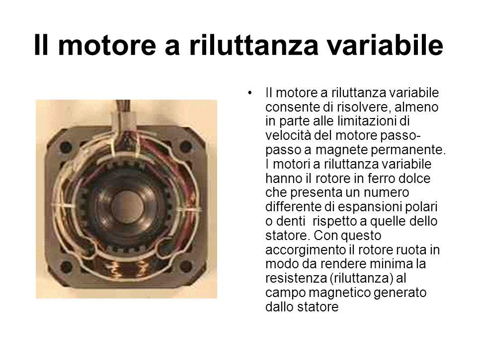 Il motore a riluttanza variabile Il motore a riluttanza variabile consente di risolvere, almeno in parte alle limitazioni di velocità del motore passo