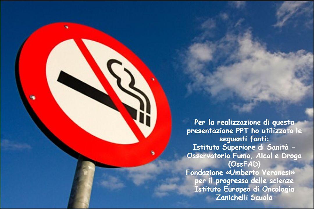 Per la realizzazione di questa presentazione PPT ho utilizzato le seguenti fonti: Istituto Superiore di Sanità - Osservatorio Fumo, Alcol e Droga (Oss